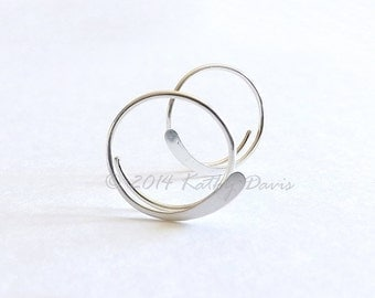 Sterling Silver Open Hoop Earrings Hammered Simple Hoops, Choose Your Size, recycled eco friendly jewelry gift for women wife girlfriend