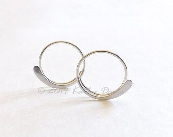 Silver Hoop Earrings Original Sterling Silver Hammered Open Hoop Earring, recycled eco friendly jewelry, Choose your size