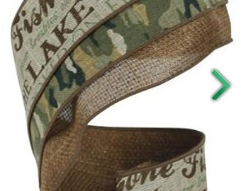 """Faux Burlap/Jute w/Fishing and Camo Wired Ribbon - 4""""x5 yards"""