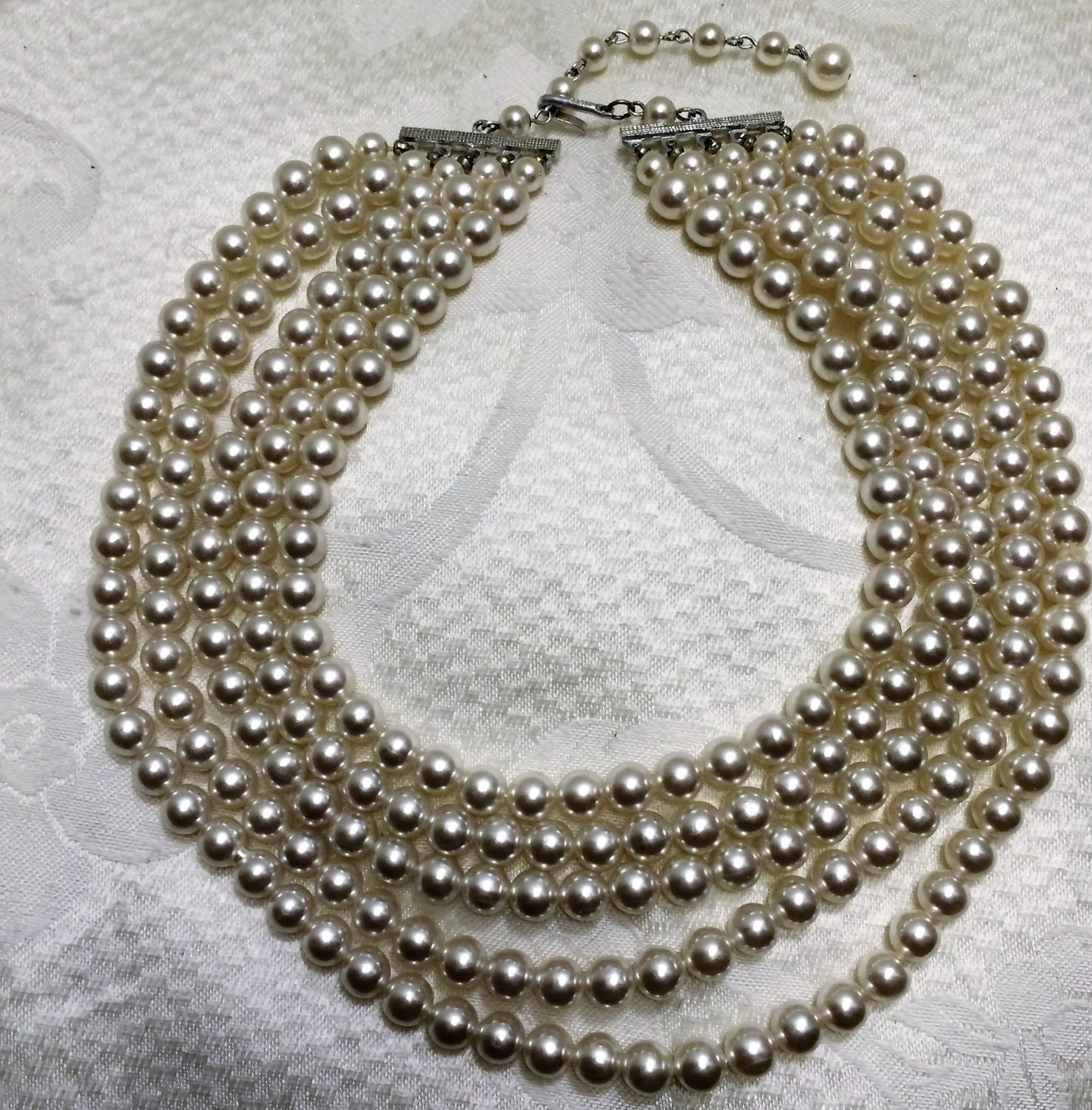 Vintage Pearl Choker Necklace: Vintage Five Strand Faux Pearl 14 To 17 Inch Choker Necklace