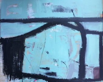 Piranha, original  mixed media painting on canvas