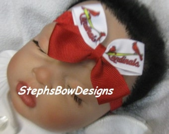 STL Saint Louis Cardinals BaseBall Small Dainty Hair Bow Red Lace Headband, 4 Baby, Newborn, Preemie, Toddler, Infant MLB St Louis
