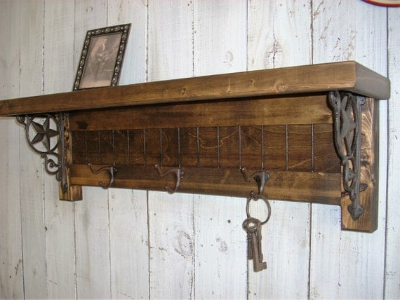 Western Cabin Lodge Wall Mounted Coat Rack Shelf Decor
