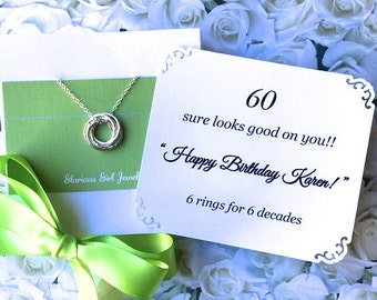 60th BIRTHDAY Gift Necklace With POEM 6 Sterling Silver Connected Rings for 6 Decades Birthday Gift Mom Sister Friend 6 Connected Rings
