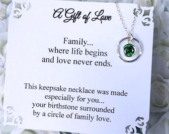 Gift for Grandma BIRTHSTONE Necklace for Mom Family Gift for Great Grandmother CHOOSE ANY BiRTHSTONE Necklace Cubic Zirconia Sterling Silver
