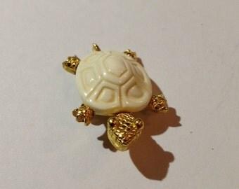 Vintage Marked Crown Trifari Turtle Brooch Hard to Find