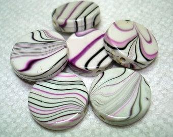Purple Black Striped Grey Flat Round Acrylic Beads (Qty 6) - B3085