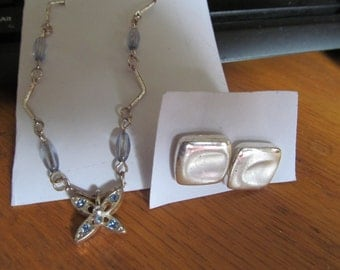 butterfly necklace w/silver square posts