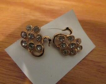 rhinestone swan post earrings