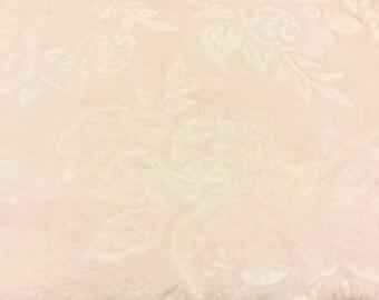 Pink Rose Rosette Minkee Minky Chenille fabric   Soft Fabric