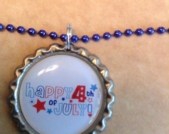 Patriotic Bottle Cap Necklace, July Fourth Necklace, Red White Blue, Ball & Chain Necklace, Flatten Bottle Cap, Happy July Fourth