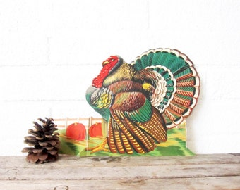 Thanksgiving Turkey, Embossed Cardboard Decoration, Vintage Diecut - Vintage Die Cut Holiday Decoration - Rustic Home Decor