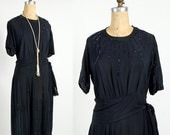 ON SALE 20s Sparkle Beaded Dress . Flapper Gown in Navy Chiffon . Antique Fashion