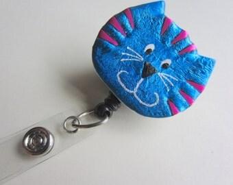 Decorative Retractable Reel Badge ID Holder blue Tabby Cat alligator or belt clip