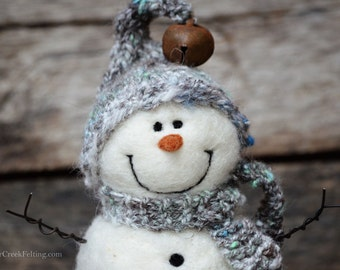 Snowman - handmade - needle felted- one of a kind -  739
