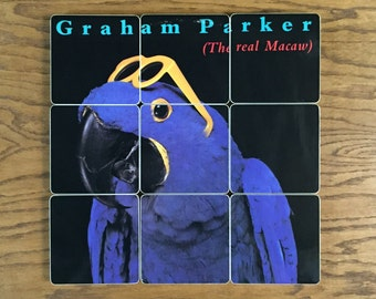 GRAHAM PARKER handmade wood coasters & record bowl created from recycled music album