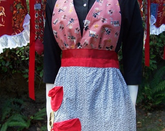 Cowgirl apron Pretty vintage apron with western halter top Hey you cute cowgirls This would be a flirty apron to cook in or hostess party in