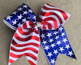 Patriot Red, White, and Blue Cheer Bow Style Hair Bow Stars and Stripes