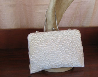 Vintage 1960's White Plastic Beaded Evening Bag
