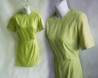 Vintage 50s Dress Size M Apple Green Polka Dot Frock Secretary Mini 60s