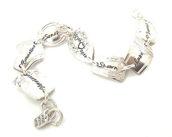 Personalized Silverware Spoon Ends Bracelet (6-8) Mothers Jewelry Hand Stamped Vintage Flatware Repurposed Upcycled Utensil Grandma Gift