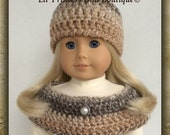 Made To Fit American Girl Dolls, Crochet Capelet and Hat, Caramel Tweed, 18 Inch
