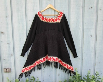 Large Cashmere Blend Bohemian Fringed Sweater Tunic Top// Upcycled// emmevielle
