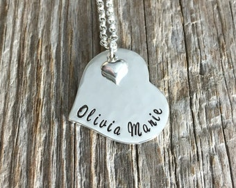 Hammered Heart Necklace - Sterling Silver - Heart Necklace - Personalized Jewelry
