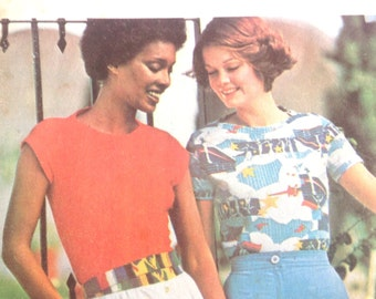 Vintage 1970s, 70s Butterick 4762 Dress Pattern Close Fitting T-Shirt Top, Sleeve Variations size 14, B36 That 70s Show