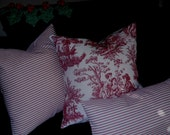 Pillow Cover, case, sham Waverly r/w ticking, 18x18 and other sizes