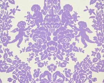 1970s Retro Vintage Flocked Wallpaper Purple Flocked Cherubs Roses on White by the Yard