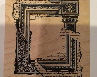 Collage Frame Rectangle Wood Mount Rubber Stamp