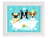 25D Bathroom Print - Three Dogs in Bubble Bath Wall Art - Pug Print - Boston Terrier Wall Art - Jack Russell Print - Dog Art - Bathroom Art