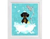 52D Dog Print - Dachshund Dotson Dog in Bubble Bath Wall Art - Dog Wall Art - Dachshund Wall Art - Dachshund  Print - Dog Bathroom Art