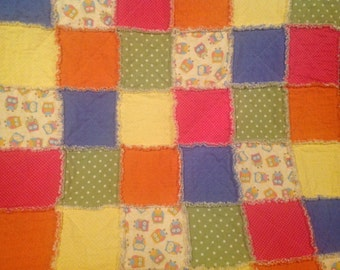 """Owls in Spring for Toddler or Baby ...Rag Quilt...approx 42""""x 49"""""""