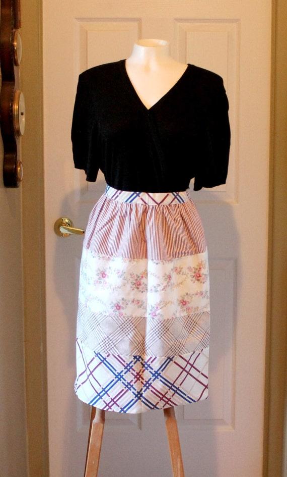 Burgundy upcycled reversible half long Apron  reclaimed cotton fabrics Large apron