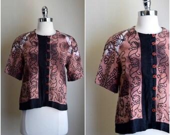 70's button down blouse / 1970's boho blouse