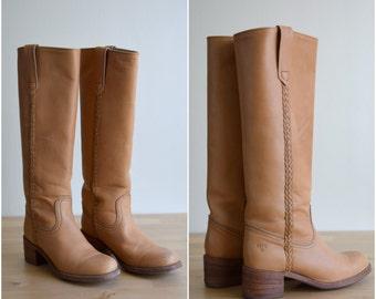 Vintage leather knee high FRYE boots / Frye campus boots / 1970's Frye boots / Women's Frye boots size 7