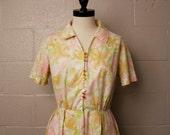 Vintage 1960's Lily Lynn Pink Floral Shirtwaist Dress L