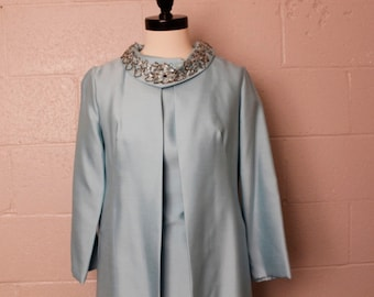 Vintage 1960's Pastel Blue Dress Jacket Set Beaded Collar Sm