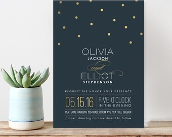 Vintage gold dots wedding invitation, modern wedding invitation, custom wedding invitation, navy wedding door hanger - gold dots.
