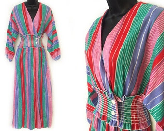 80s Pink Green Red Purple White Stripe V-Neckline Wrap Maxi Lounge Dress S M