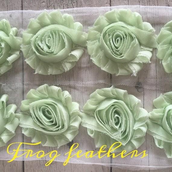 Chiffon Shabby Chic Rose Trim in MINT GREEN -2 1/2 inches-1/2 yard piece