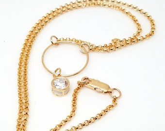 Discreet Slave Collar with Sparkly CZ Solitaire Pendant 14kt gold filled O 14kt Gold Filled Chain and 14kt Gold Filled Clasp