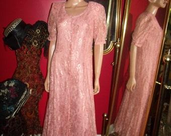 Vintage  PeachPink Lace  Dress Flapper  does 20-30s  Tea Party  Size n/a