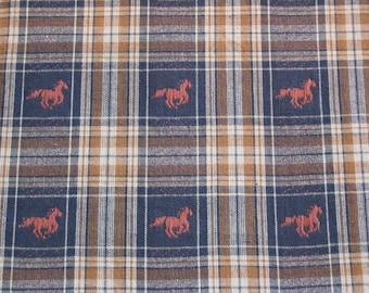 Cotton Homespun Single cut Fabric Horse 5 yards