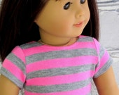 Pink Gray Stripe Trendy Tee, fits American Girl Doll, Valentine T Shirt