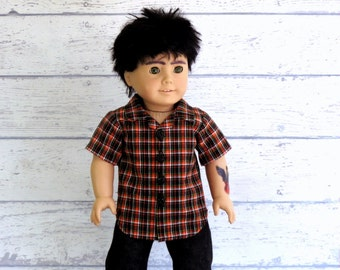 American Boy Doll Button Front Shirt, Orange Black Plaid Shirt, Button Up Shirt