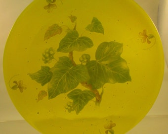 glass plate,yellow leaf fused glass
