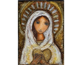 Blessed Mother - Reproduction from Painting by FLOR LARIOS (8 x 10 Inches Print)